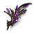 Sparkling Purple Crystal Fire-Bird Brooch (Gun Metal) - view 7