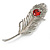 Large Swarovski Crystal Peacock Feather Silver Tone Brooch (Clear & Carrot Red) - 11.5cm Length