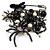 'Spider, Chain & Bead' Charm Safety Pin Brooch (Gun Metal Finish) - Catwalk - 2014