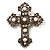 Large Victorian Filigree Imitation Pearl Crystal Cross Brooch (Antique Silver)