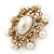 Antique Gold Filigree Light Cream Simulated Pearl Corsage Brooch - 60mm L - view 8