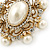 Antique Gold Filigree Light Cream Simulated Pearl Corsage Brooch - 60mm L - view 9