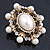 Antique Gold Filigree Light Cream Simulated Pearl Corsage Brooch - 60mm L - view 15