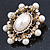 Antique Gold Filigree Light Cream Simulated Pearl Corsage Brooch - 60mm L - view 16