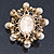Antique Gold Filigree Light Cream Simulated Pearl Corsage Brooch - 60mm L - view 10