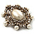 Antique Gold Filigree Light Cream Simulated Pearl Corsage Brooch - 60mm L - view 5