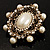 Antique Gold Filigree Light Cream Simulated Pearl Corsage Brooch - 60mm L - view 7