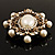 Antique Gold Filigree Light Cream Simulated Pearl Corsage Brooch - 60mm L - view 6