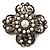Vintage Filigree Simulated Pearl Cross Brooch (Antique Silver)