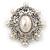 Silver Tone Filigree Light Cream Simulated Pearl Corsage Brooch - 60mm L