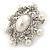 Silver Tone Filigree Light Cream Simulated Pearl Corsage Brooch - 60mm L - view 5