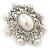 Silver Tone Filigree Light Cream Simulated Pearl Corsage Brooch - 60mm L - view 2