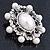 Silver Tone Filigree Light Cream Simulated Pearl Corsage Brooch - 60mm L - view 7