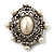 Silver Tone Filigree Light Cream Simulated Pearl Corsage Brooch - 60mm L - view 8