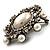 Silver Tone Filigree Light Cream Simulated Pearl Corsage Brooch - 60mm L - view 12