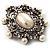 Silver Tone Filigree Light Cream Simulated Pearl Corsage Brooch - 60mm L - view 15