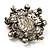 Silver Tone Filigree Light Cream Simulated Pearl Corsage Brooch - 60mm L - view 14