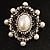 Silver Tone Filigree Light Cream Simulated Pearl Corsage Brooch - 60mm L - view 9