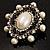 Silver Tone Filigree Light Cream Simulated Pearl Corsage Brooch - 60mm L - view 11