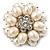 Bridal Imitation Pearl Dimensional Flower Brooch (Silver Tone)