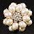 Bridal Imitation Pearl Dimensional Flower Brooch (Silver Tone) - view 2