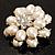Bridal Imitation Pearl Dimensional Flower Brooch (Silver Tone) - view 3