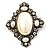 Vintage Oval Simulated Pearl Diamante Brooch (Antique Silver)