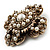 Vintage Filigree Simulated Pearl Cross Brooch (Antique Gold) - view 3