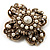Vintage Filigree Simulated Pearl Cross Brooch (Antique Gold) - view 6