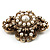 Vintage Filigree Simulated Pearl Cross Brooch (Antique Gold) - view 9