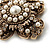 Vintage Filigree Simulated Pearl Cross Brooch (Antique Gold) - view 4