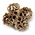 Vintage Filigree Simulated Pearl Cross Brooch (Antique Gold) - view 8