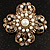 Vintage Filigree Simulated Pearl Cross Brooch (Antique Gold) - view 2