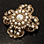 Vintage Filigree Simulated Pearl Cross Brooch (Antique Gold) - view 5