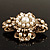 Vintage Filigree Simulated Pearl Cross Brooch (Antique Gold) - view 7