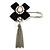 Crystal Tassel Silk Bow Safety Pin Brooch (Silver Plated )