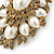 Oversized Vintage Corsage Imitation Pearl Brooch (Antique Gold) - view 13