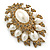 Oversized Vintage Corsage Imitation Pearl Brooch (Antique Gold) - view 14