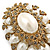 Oversized Vintage Corsage Imitation Pearl Brooch (Antique Gold) - view 15