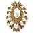 Oversized Vintage Corsage Imitation Pearl Brooch (Antique Gold) - view 16