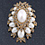 Oversized Vintage Corsage Imitation Pearl Brooch (Antique Gold) - view 17