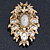 Oversized Vintage Corsage Imitation Pearl Brooch (Antique Gold) - view 19