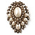 Oversized Vintage Corsage Imitation Pearl Brooch (Antique Gold)