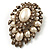 Oversized Vintage Corsage Imitation Pearl Brooch (Antique Gold) - view 8
