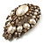 Oversized Vintage Corsage Imitation Pearl Brooch (Antique Gold) - view 9