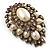 Oversized Vintage Corsage Imitation Pearl Brooch (Antique Gold) - view 5