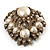 Oversized Vintage Corsage Imitation Pearl Brooch (Antique Gold) - view 11