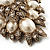 Oversized Vintage Corsage Imitation Pearl Brooch (Antique Gold) - view 3