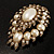 Oversized Vintage Corsage Imitation Pearl Brooch (Antique Gold) - view 4
