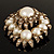 Oversized Vintage Corsage Imitation Pearl Brooch (Antique Gold) - view 6